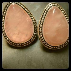 Pink Stone & Silver-tone Earrings by Avon New